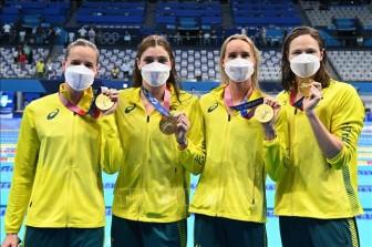 Australia phá kỷ lục thế giới nội dung bơi nữ 4x100 mét tiếp sức tự do