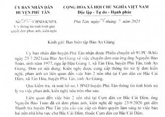 Trả lời khiếu nại của ông Nguyễn Bảo Toàn