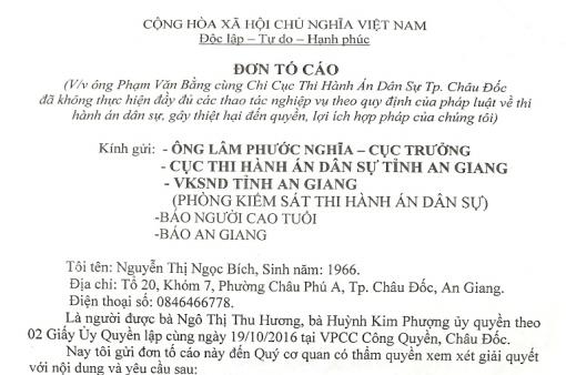 Khiếu nại của bà Nguyễn Thị Ngọc Bích là có cơ sở