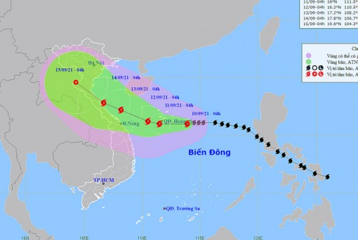 Thời tiết ngày 10-9: Tây Nguyên và Nam Bộ có mưa rào và dông, bão số 5 mạnh dần lên