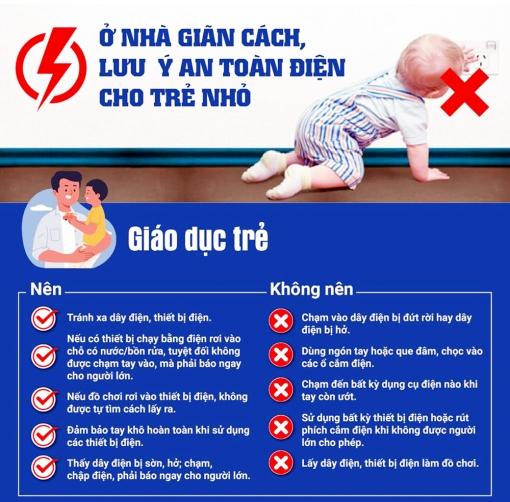 Lưu ý an toàn điện cho trẻ em ở nhà trong thời gian giãn cách