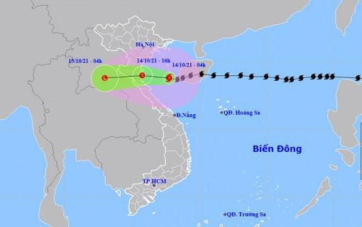 Thời tiết ngày 14-10: Bão số 8 giảm cấp trước khi đi vào đất liền, Bắc Bộ và Quảng Trị có mưa rất to