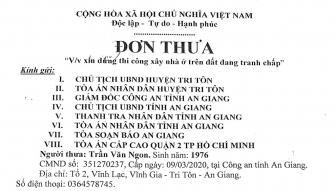 Trả lời phản ánh của ông Trần Văn Ngon