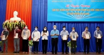 Liên đoàn Lao động tỉnh An Giang tuyên dương cán bộ, đoàn viên công đoàn hỗ trợ đón công dân An Giang về địa phương