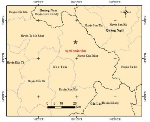 Xảy ra động đất có độ lớn 3,7 tại huyện Kon Plông của tỉnh Kon Tum