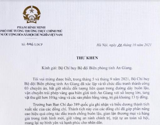 Trưởng Ban Chỉ đạo 389 quốc gia gửi Thư khen Bộ đội Biên phòng An Giang