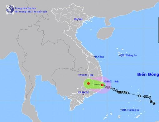 Thời tiết ngày 27-10: Áp thấp nhiệt đới di chuyển theo hướng Tây Tây Bắc, Nam Trung Bộ và Tây Nguyên mưa to